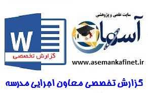 گزارش تخصصی معاون اجرایی