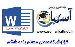 گزارش تخصصی معلم پایه ششم