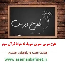 1256 - طرح درس روزانه قرآن سوم ابتدایی درس روز پانزدهم تمرین حروف نا خوانا